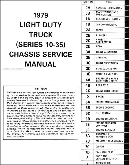 1979 chevrolet pickup blazer van suburban repair shop manual rh faxonautoliterature com 1989 Chevrolet P30 1988 Chevrolet P30