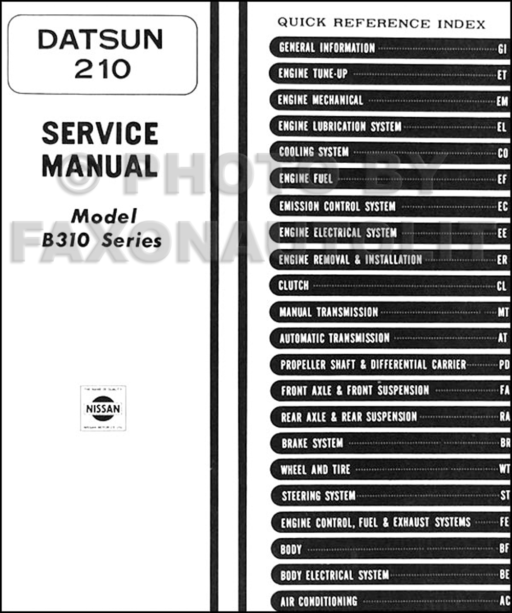 1979 datsun 210 repair shop manual original rh faxonautoliterature com Datsun 110 Datsun 720