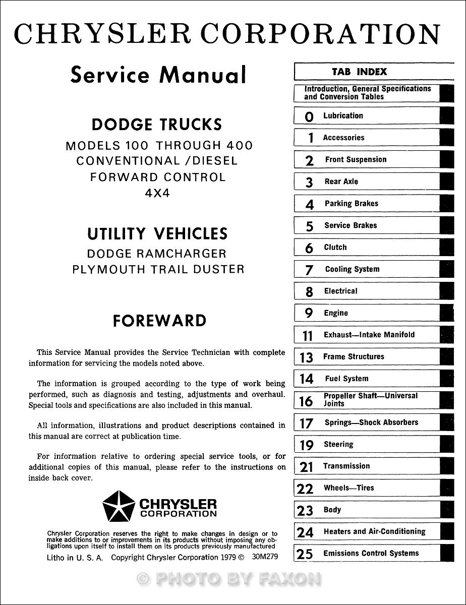 1979 dodge 100 400 truck ramcharger trail duster repair shop manual reprint