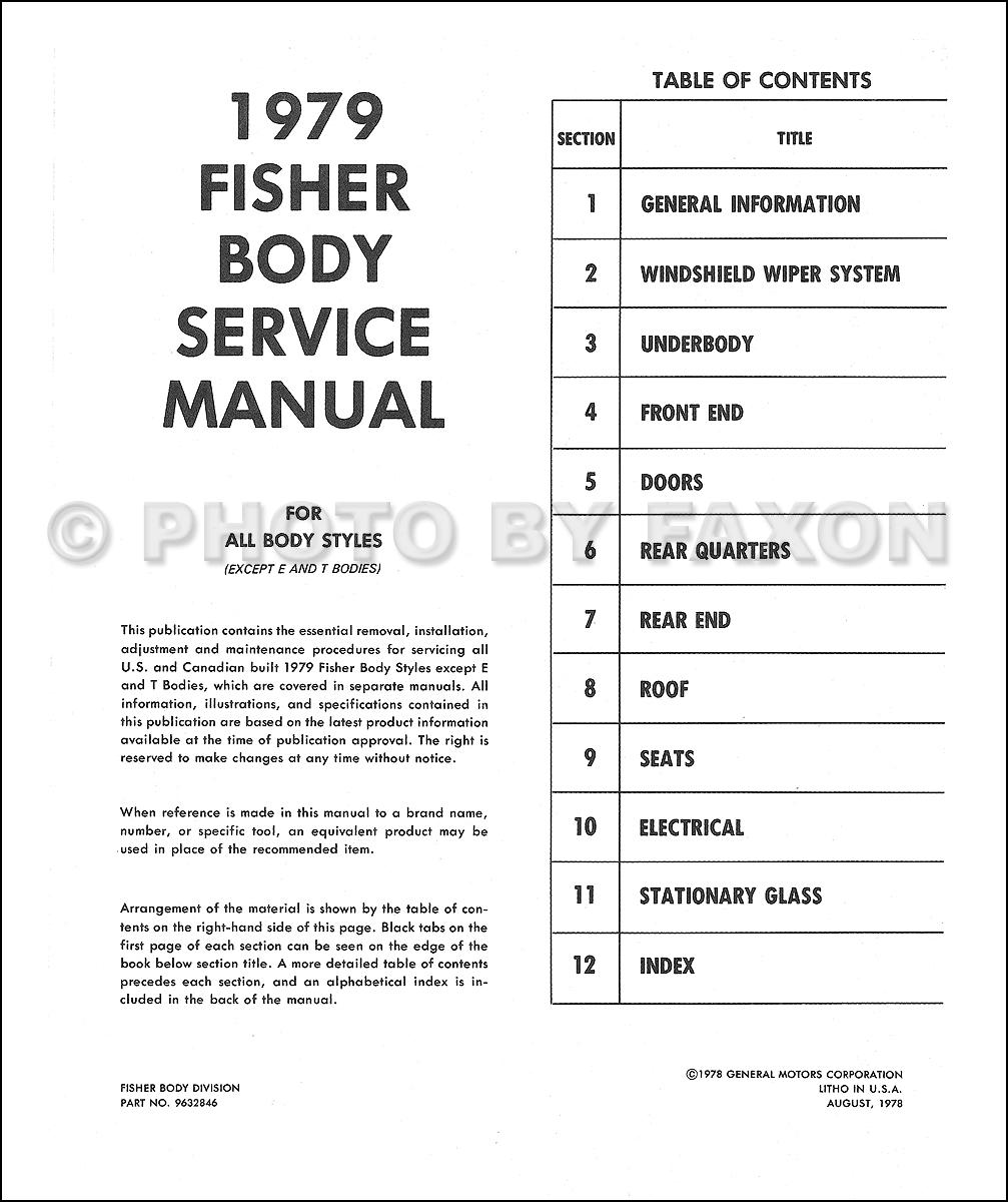 Cadillac Body Shop Manual Reprint - 1979 cadillac wiring diagrams