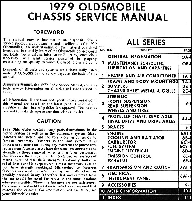 1979 Oldsmobile Repair Shop Manual Original All Seriesrhfaxonautoliterature: Cutl Supreme Wiring Diagram At Elf-jo.com