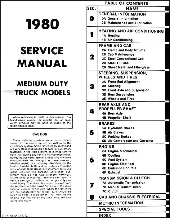 1980ChevMDTORM TOC 1980 1981 chevrolet medium and heavy truck service manual cd International Truck Wiring Diagram at n-0.co