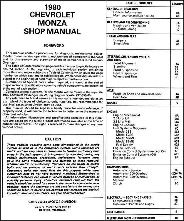 1980 Chevy Monza Repair Shop Manual Original