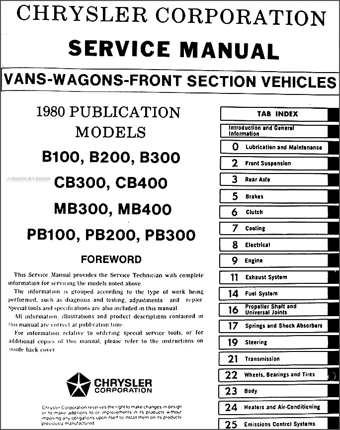 1980 Dodge Plymouth Van Repair Shop Manual Original Sportsman – Dodge Rv Wiring Diagram