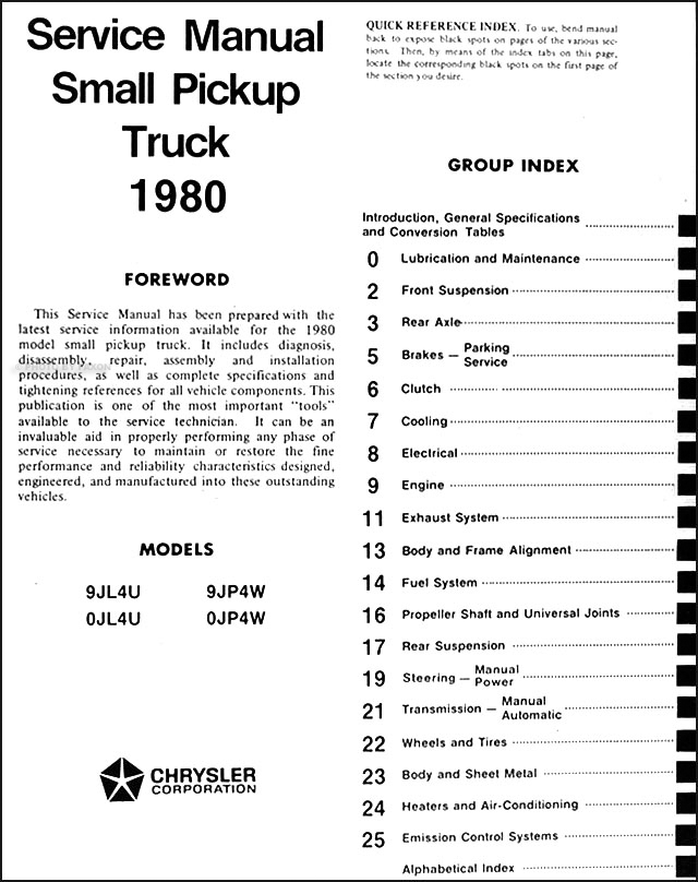 1980 Dodge Ram 50 Plymouth Arrow Truck Repair Shop Manual Original