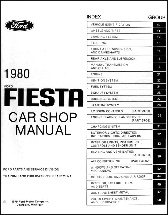 1980 ford fiesta repair shop manual original. Black Bedroom Furniture Sets. Home Design Ideas