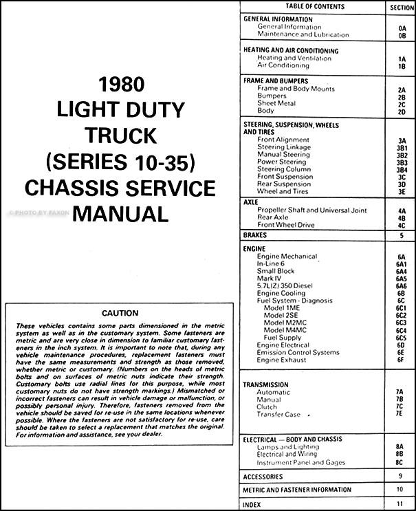1980 gmc repair shop manual original pickup  jimmy  suburban  van  fc