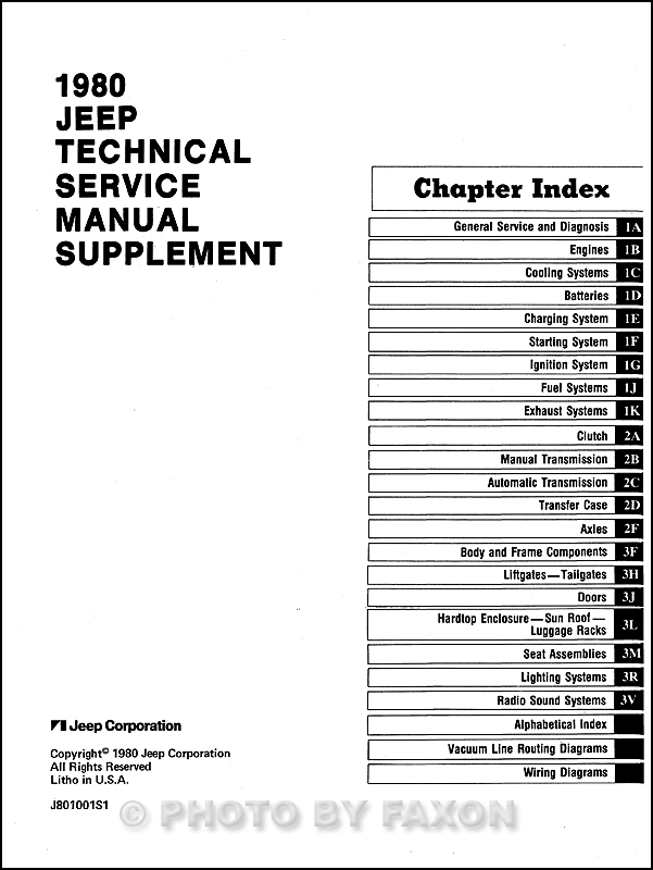 1980 jeep repair shop manual reprint