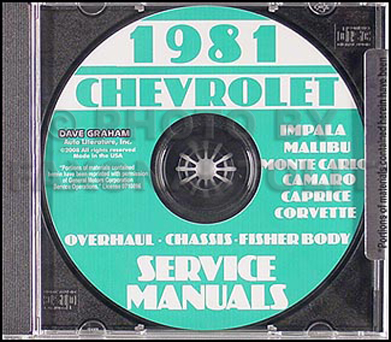 1981 Chevy Service Manuals CD-ROM Shop, Overhaul, and Body Manuals