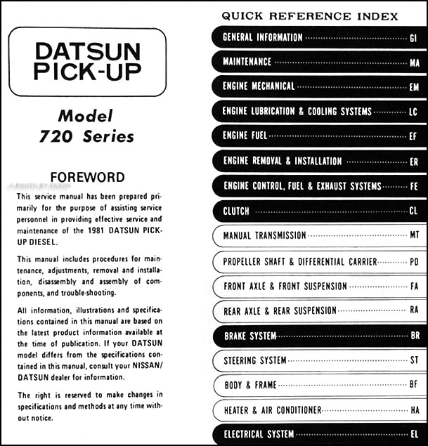 1981 datsun diesel pickup truck repair shop manual supplement original rh faxonautoliterature com 1989 Nissan Pickup Red 1981 Datsun Pick Up with Camper Shell