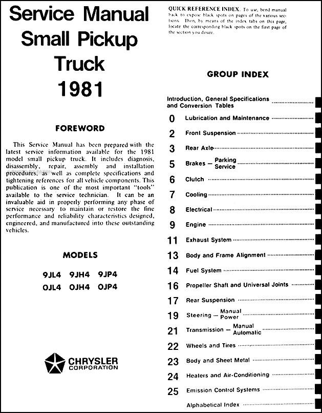 1981 Dodge Ram 50  U0026 Plymouth Arrow Truck Repair Shop Manual Original