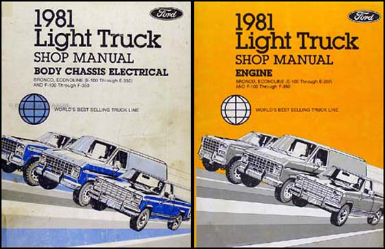 1981 ford f100 f150 f250 f350 pickup truck foldout wiring diagram 1981 ford truck repair shop manual f100 f150 f350 bronco econoline van set