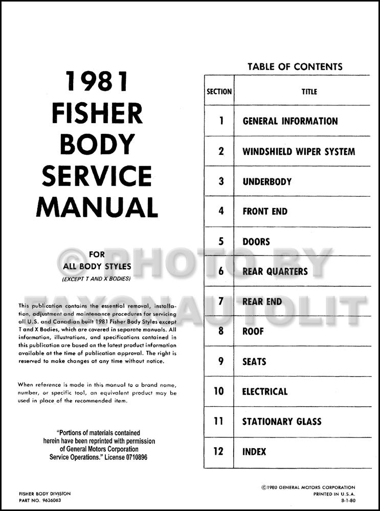 1981 cadillac body shop manual deville eldorado seville