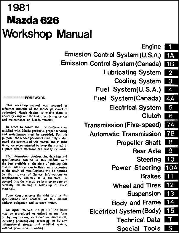 1981 mazda 626 repair shop manual original rh faxonautoliterature com 1993 mazda 626 repair manual 1993 mazda 626 repair manual