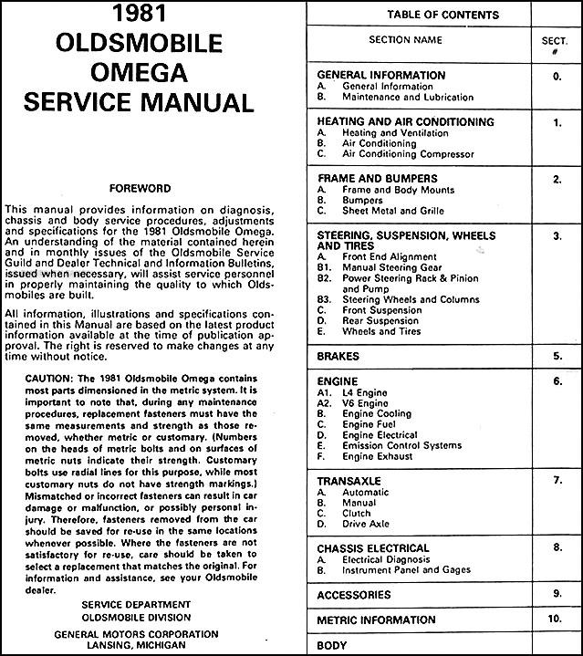 1981 Oldsmobile Omega Repair Shop Manual Originalrhfaxonautoliterature: 1974 Oldsmobile Omega Wiring Diagram At Oscargp.net