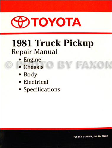 1981 Toyota Pickup Truck Repair Shop Manual Factory Reprint