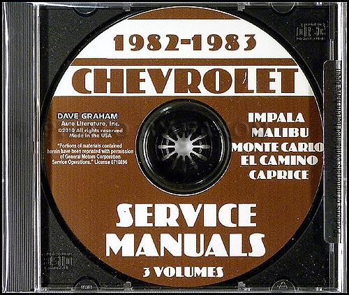 1982-1983 chevrolet impala malibu monte carlo el camino caprice service  manuals cd