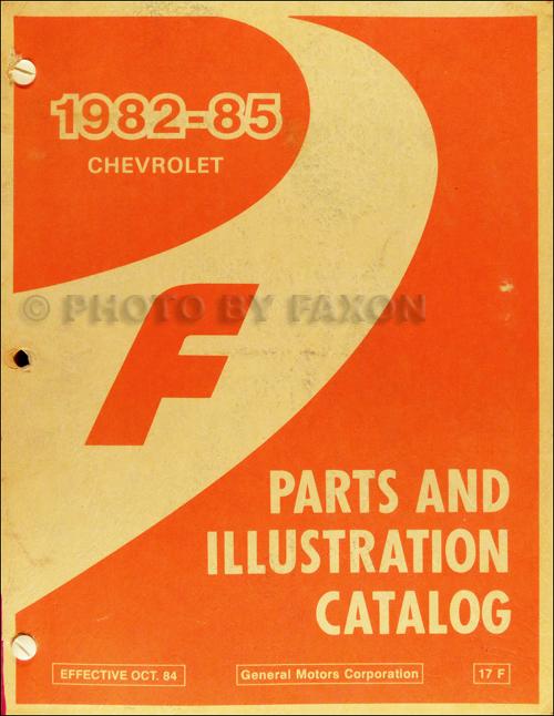 1982-1985 Chevrolet Camaro Parts Book Original