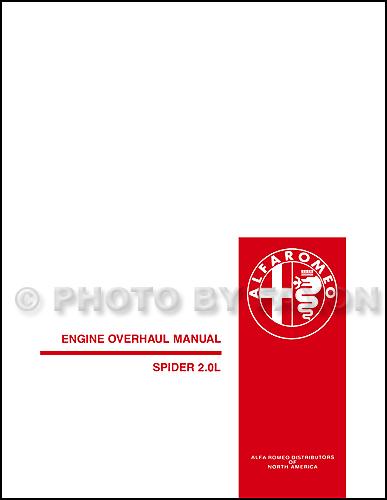 1982 1991 alfa romeo engine overhaul manual reprint