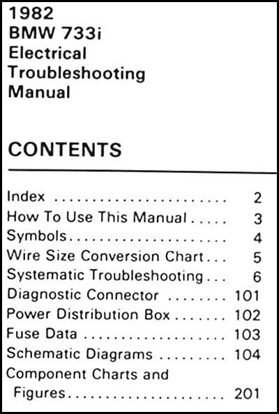 1982 Bmw 733i Electrical Troubleshooting Manual Wiring Diagram Schematics 733 I