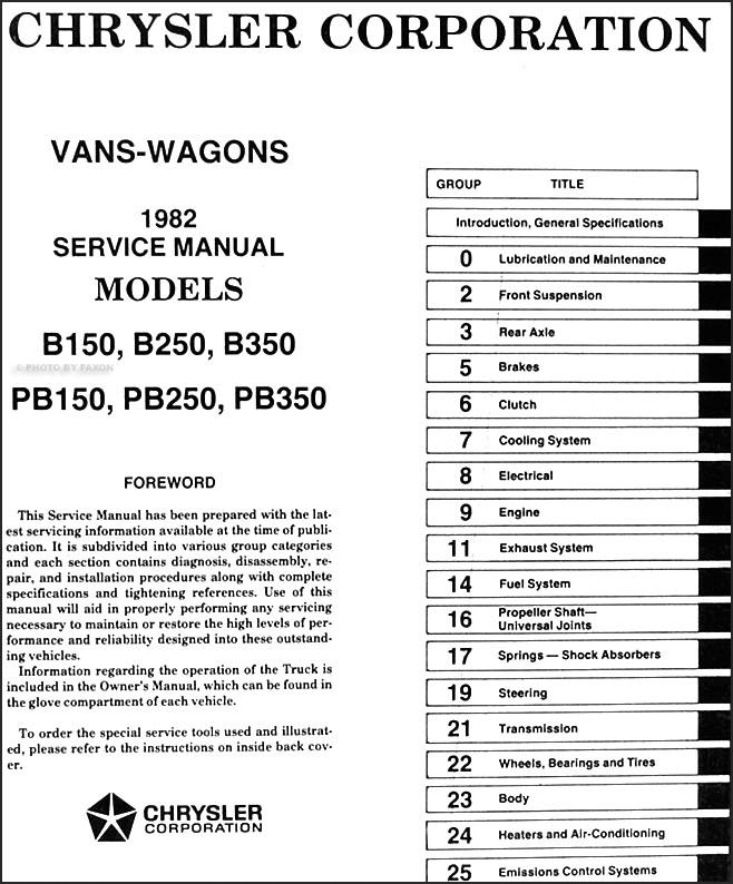 1982 Dodge Ram Van 150 250 350 Voyager Shop Manual 82