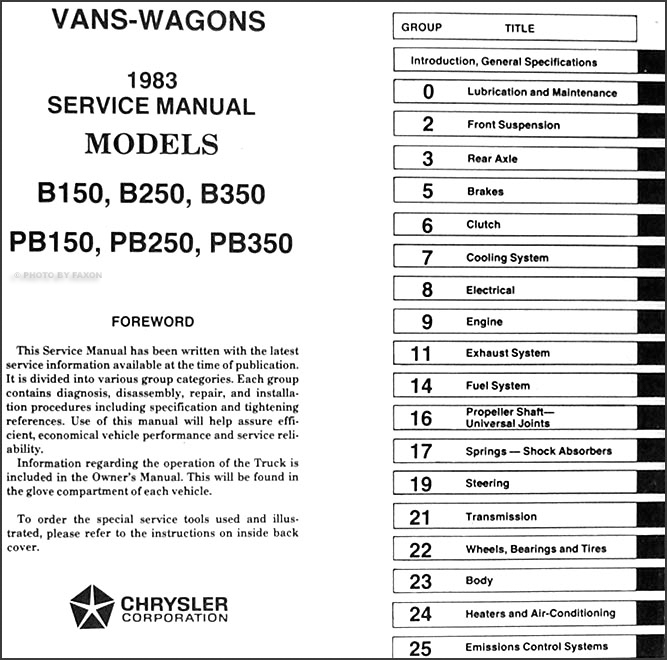 1983 Ram Van Voyager Shop Manual 83 Dodge B150 B250 B350