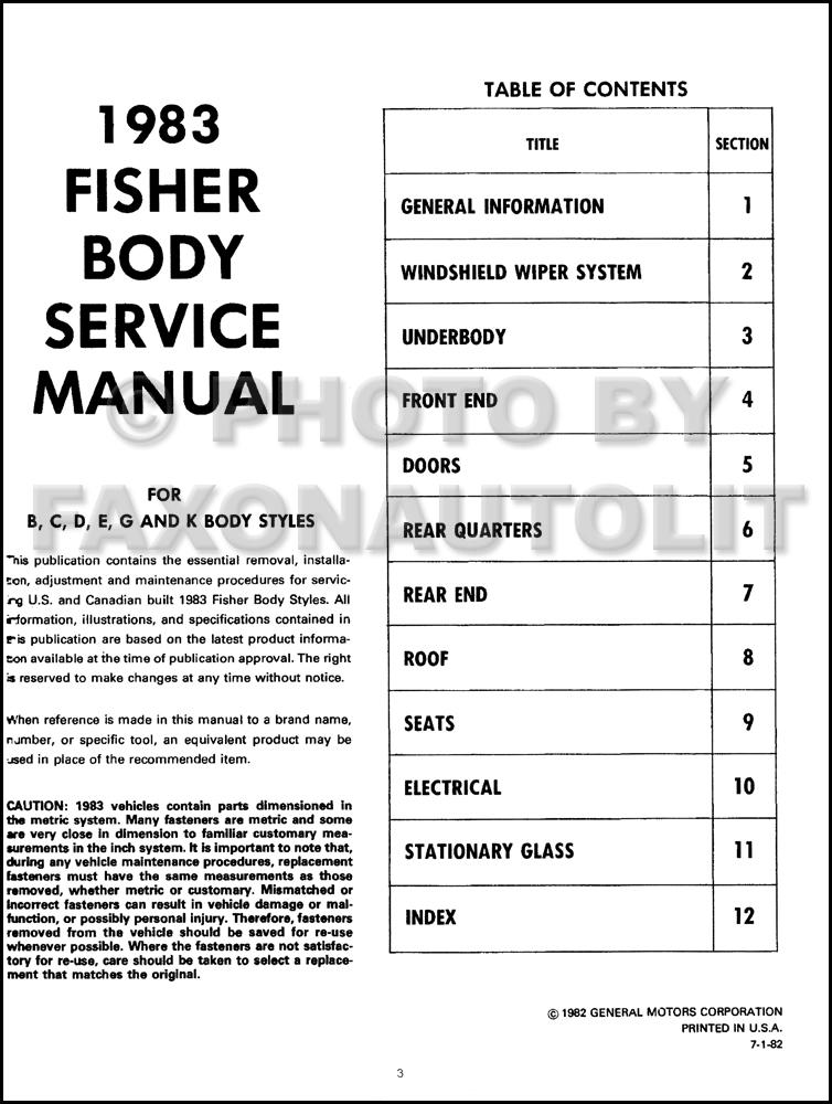 1983 Olds Body Shop Manual Supreme Calais Cutlass 88 98