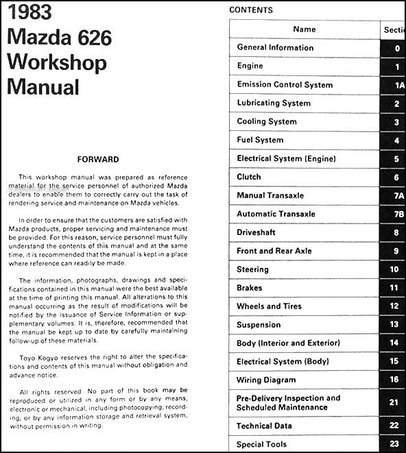 1983 Mazda 626 Repair Shop Manual Original