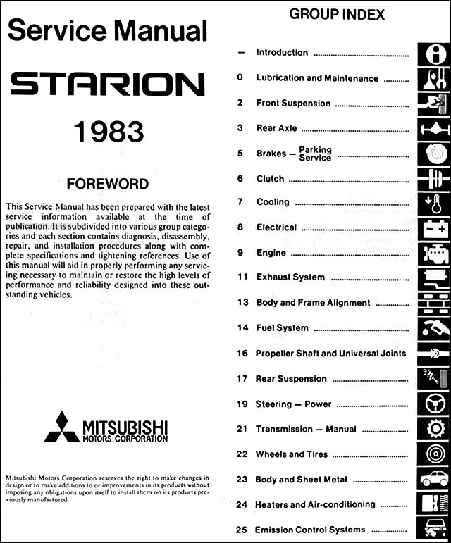 1983MitsubishiStarionORM TOC 1983 mitsubishi starion repair shop manual original mitsubishi starion wiring diagram at aneh.co