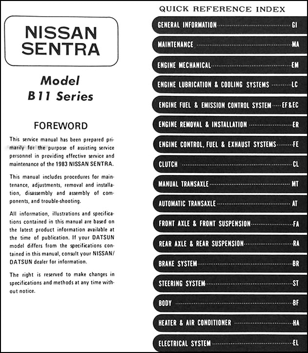 1983 nissan sentra wiring diagram 1983 datsun/nissan sentra repair shop manual original 1988 nissan sentra wiring diagram
