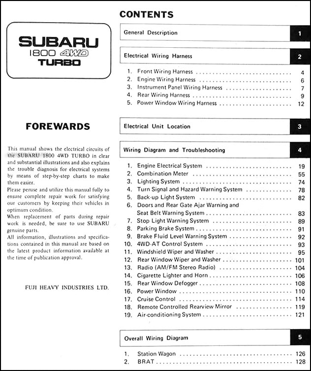1983 subaru 1800 4wd turbo wiring and troubleshooting manual original rh faxonautoliterature com Subaru Stereo Wiring Harness Diagram 1997 Subaru Legacy Starter Wires