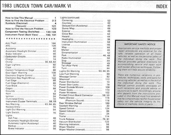 1983 lincoln town car and mark vi electrical troubleshooting manual