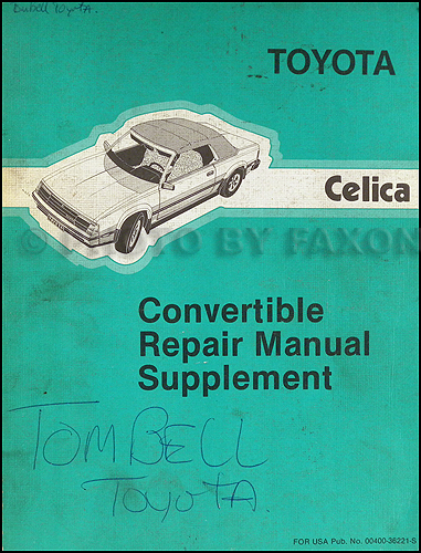 toyota celica wiring diagram manual original 1984 1985 toyota celica convertible repair shop manual original supplement