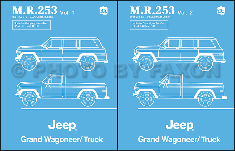 1984 1988 jeep grand wagoneer j10 j20 truck repair shop manual1984 1988 jeep grand wagoneer j10 j20 truck repair shop manual reprint mr253