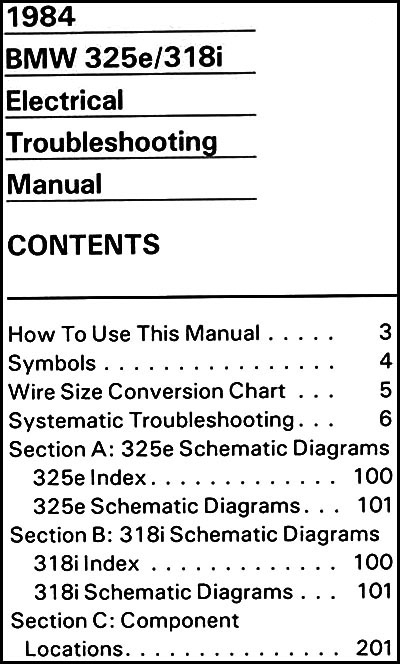 bmw 318i wiring diagram 1984 bmw 325e 318i electrical troubleshooting manual