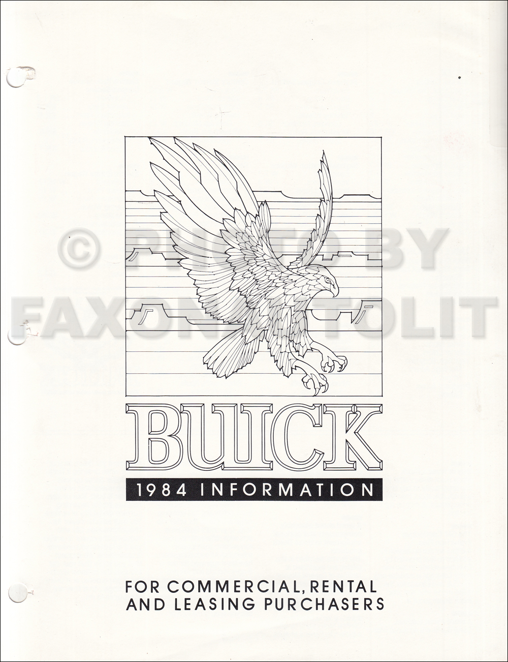 1984 buick original sales catalog riviera  t type  regal  lesabre