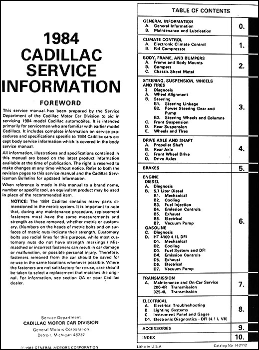1984 cadillac repair shop manual original 1948 plymouth wiring diagram
