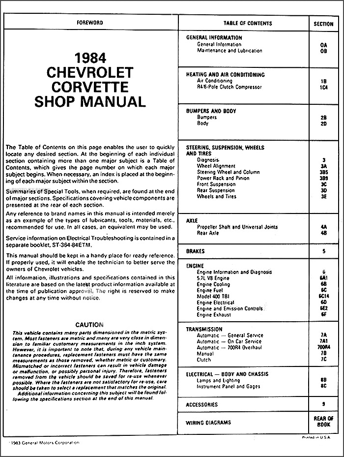 1984-1985 Chevrolet Corvette Repair Manual on CD-ROM