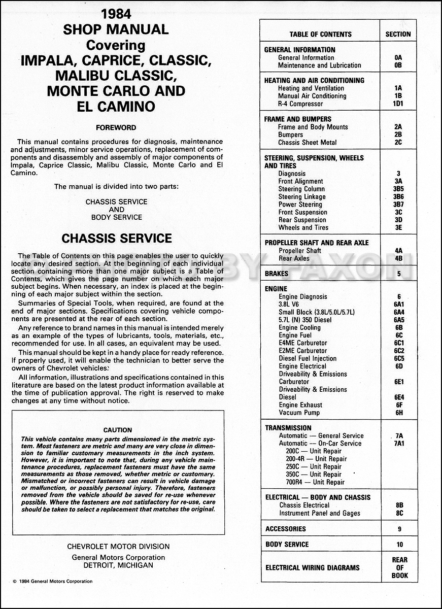 1984 Chevy Big Car Repair Shop Manual Original