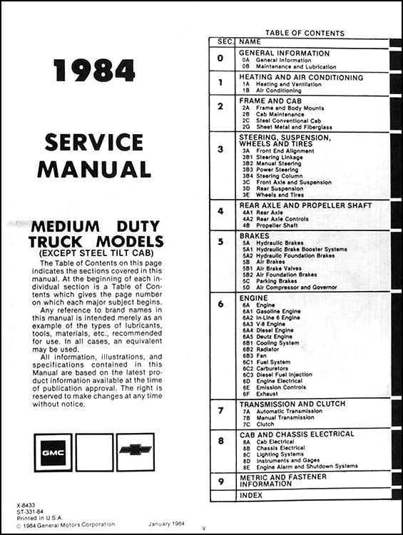 1984ChevyMD TOC 1984 chevrolet & gmc medium truck repair shop manual original 40 1979 Pontiac Wiring Diagram at n-0.co