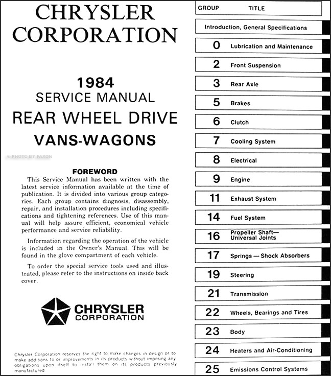 1984 Dodge Ram Van And Wagon Repair Shop Manual Original
