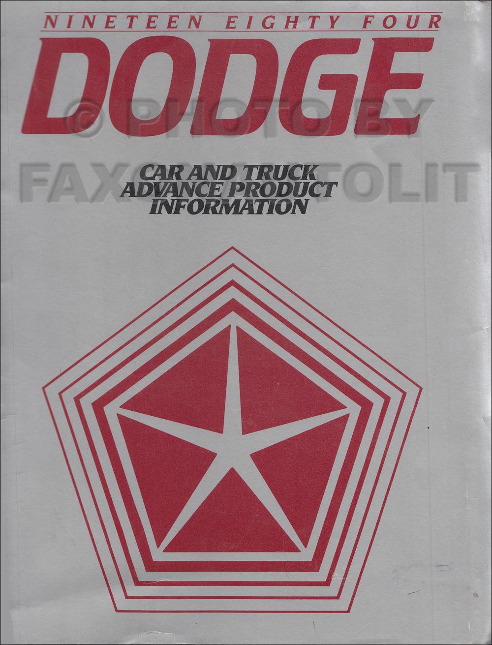 1984 Dodge Advance Product Information Original Dealer Album
