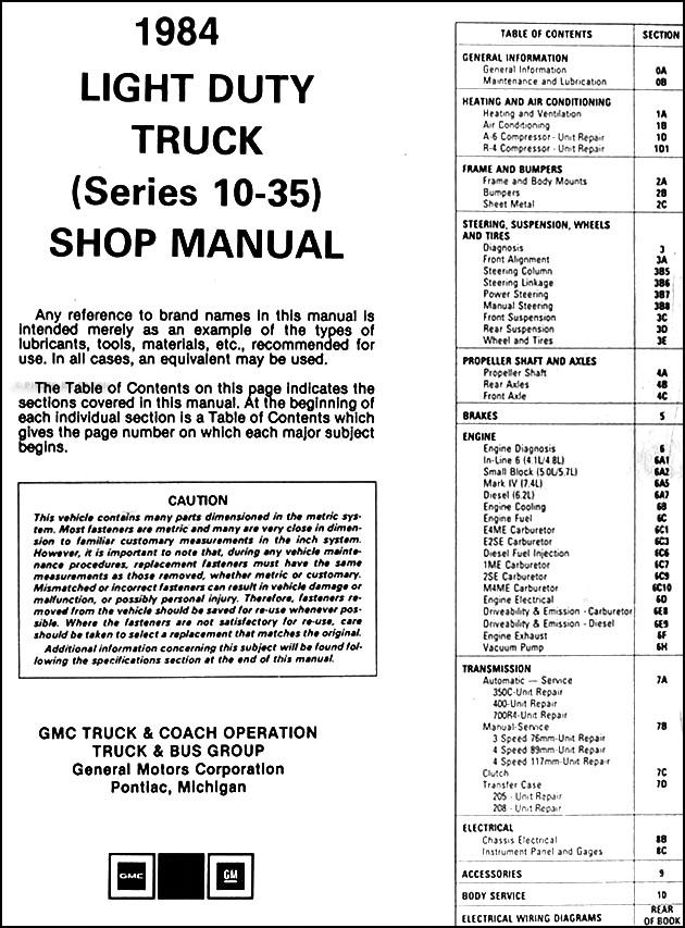 1984 gmc truck repair shop manual original pickup jimmy suburban van fc. Black Bedroom Furniture Sets. Home Design Ideas