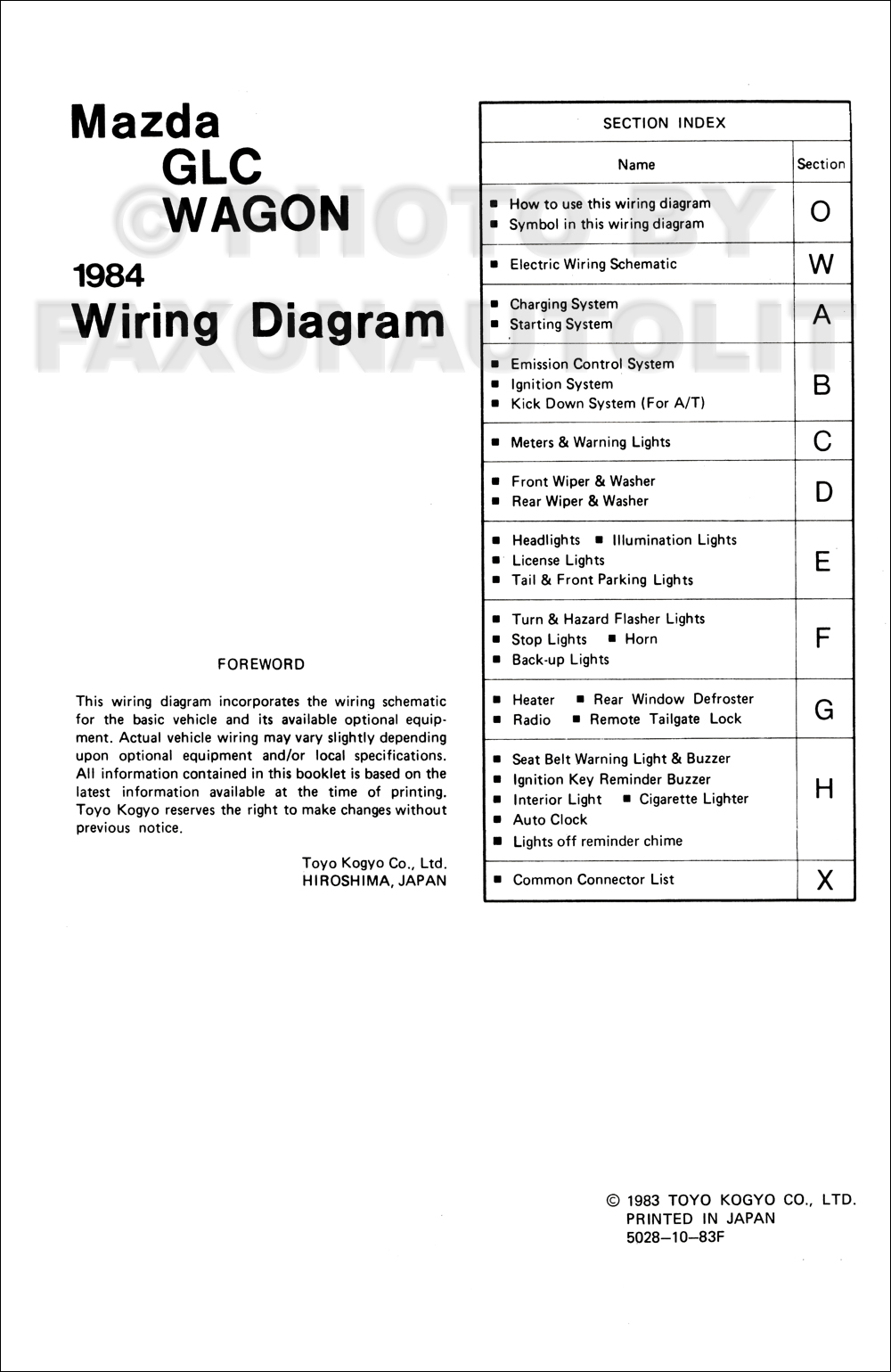 1984 Mazda Glc Wagon Wiring Diagram Manual Original