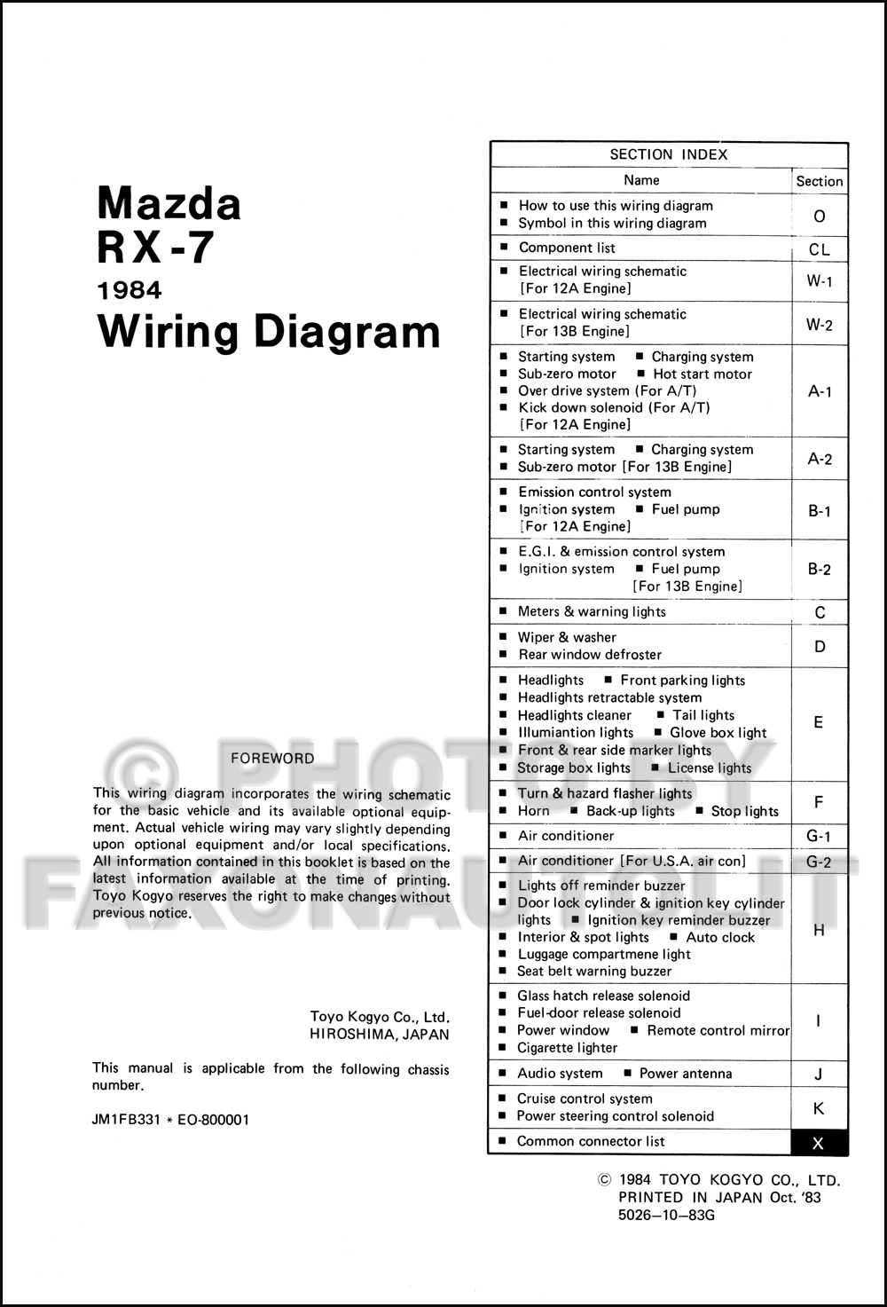 1984 mazda rx 7 wiring diagram manual original rx7. Black Bedroom Furniture Sets. Home Design Ideas