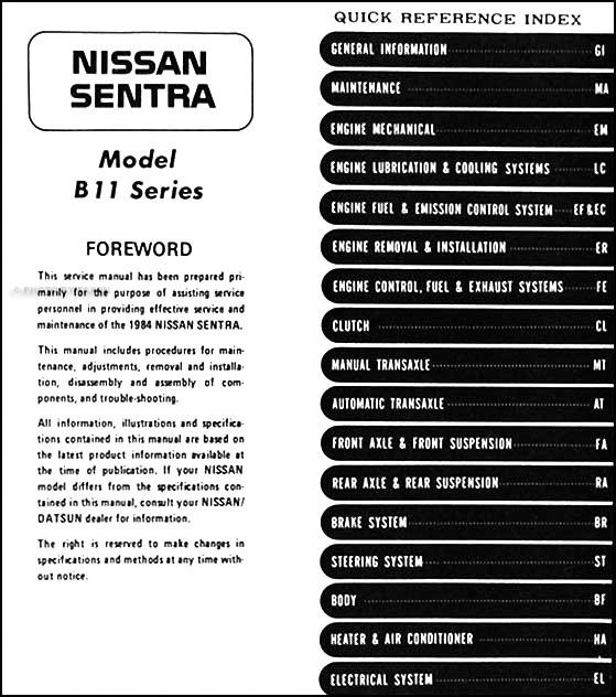 2013 Nissan Sentra Owners Manual >> 1984 Nissan Sentra Repair Shop Manual Original