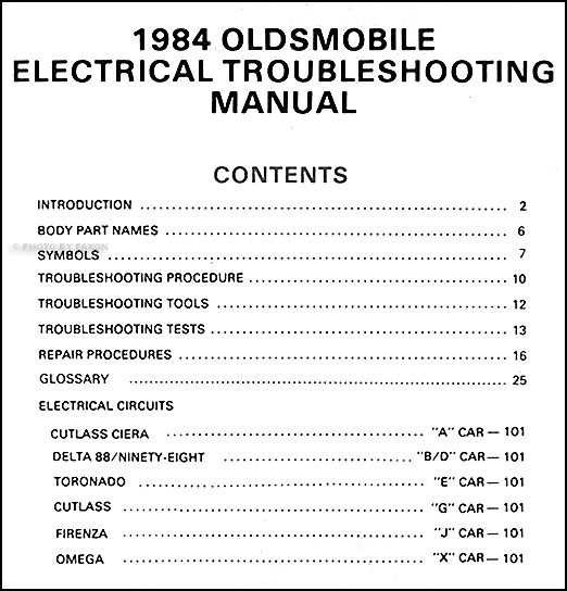 1984OldsETM TOC 1984 oldsmobile electrical troubleshooting manual original all cars  at fashall.co