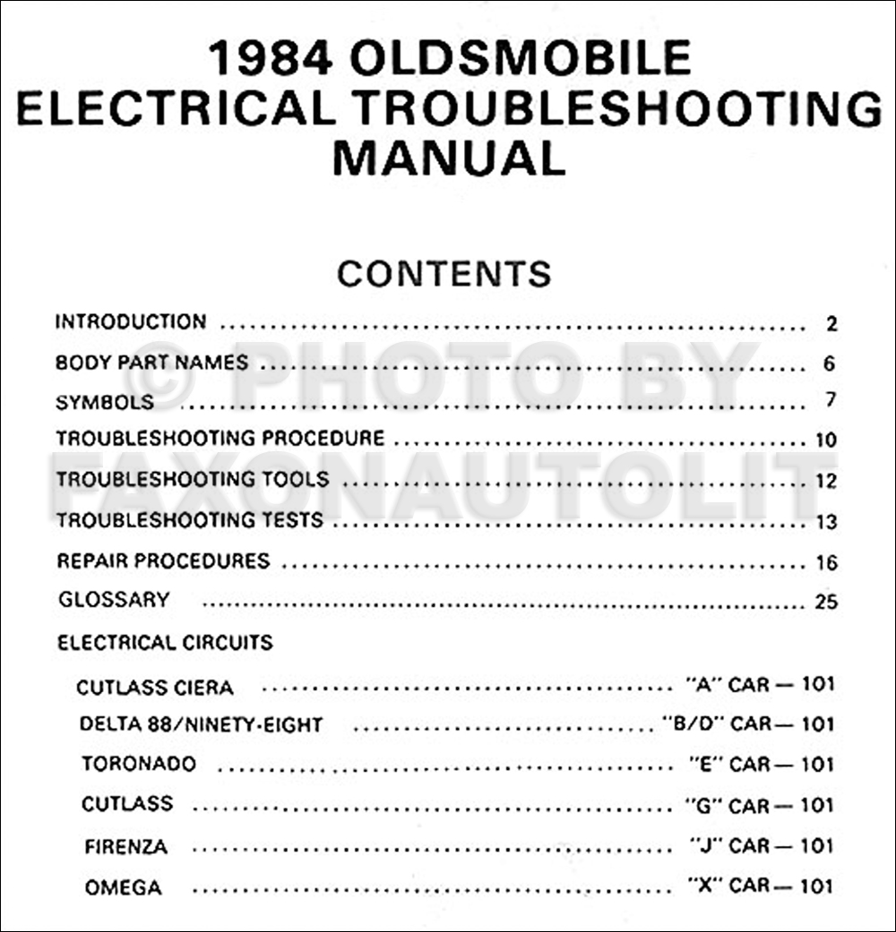 1984 Oldsmobile Wiring Diagrams Diy Enthusiasts Olds Electrical Troubleshooting Manual Rh Ebay Com 1995 Steering