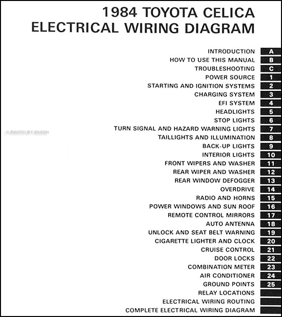 1984 Toyota Celica Wiring Diagram Manual Original