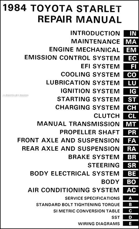 Toyota Starlet Automotive Repair Manuals